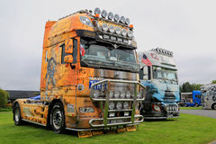 DAF Show Trucks with World History Themes Royalty Free Stock Image