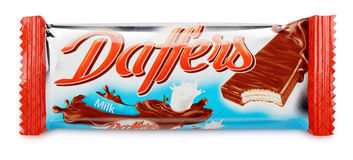 Daffers Daff`ers with flavor milk chocolate wafer bar isolated on white. MOSCOW, RUSSIA - FEBRUARY 4, 2017: Daffers Daff`ers with flavor milk chocolate wafer bar royalty free stock photography