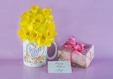 Daffodil Bouquet in Mom Coffee Mug with Gift and Gift Tag. Fresh daffodil bouquet in Mom coffee mug with floral wrapped gift and Happy Mother's Day gift tag Stock Photo
