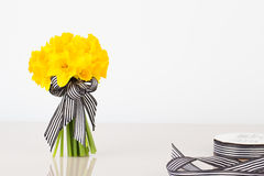 Daffodil bouquet with ribbon Stock Photos