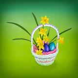 Daffodil & Easter Eggs in Basket - Vibrant Royalty Free Stock Photos