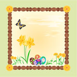 Daffodil and easter eggs frame vector Stock Image
