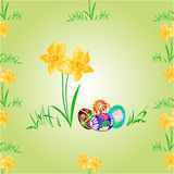 Daffodil and easter eggs seamless texture vector Stock Photography