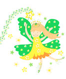 Daffodil fairy. Cute yellow daffodil flowers fairy on white background Royalty Free Stock Images