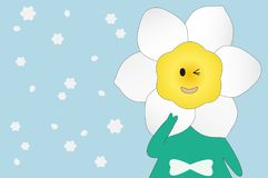 Daffodil flower cartoon Royalty Free Stock Images
