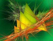 GREEN TRIANGLE. Abstract art, triangle, green, colours, linien, 3D art Royalty Free Stock Photos