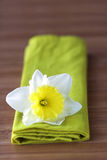 Daffodil Flower on green napkin. Daffodil Flower on green folded cloth napkin on wood table Royalty Free Stock Photography