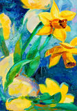 Daffodil flowers. Original oil painting of beautiful  daffodil flowers in front of ocean  on canvas.Modern Impressionism Stock Photo