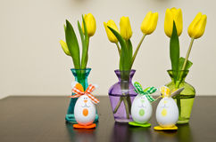Daffodil flowers and Easter eggs Royalty Free Stock Photo