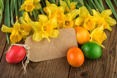 Daffodil Flowers with Paper Label Royalty Free Stock Photography