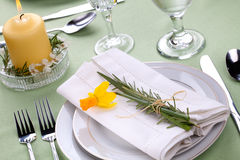 Daffodil table settings Royalty Free Stock Photography