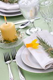 Daffodil table settings Royalty Free Stock Photos