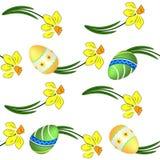 daffodils άνευ ραφής σύσταση αυγών Πάσχας απεικόνιση αποθεμάτων