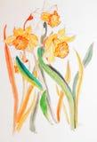 daffodils κυματίζοντας διανυσματική απεικόνιση