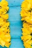 Daffodils на деревянной предпосылке Стоковые Фото