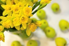 Daffodils and apples royalty free stock photos