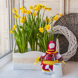 Daffodils in the box and the doll-motanka Royalty Free Stock Image