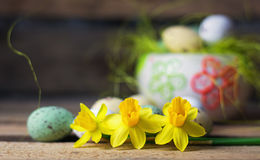 Daffodils and Easter Eggs Royalty Free Stock Images