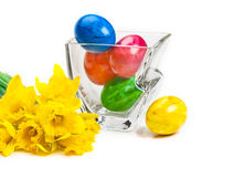 Daffodils, easter eggs Royalty Free Stock Image