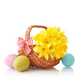 Daffodils with easter eggs Stock Image