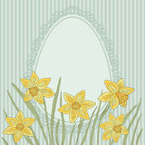 Daffodils flowers background. Easter vintage card. stock illustration