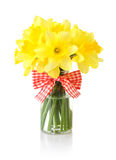 Daffodils in glass vase Stock Photography