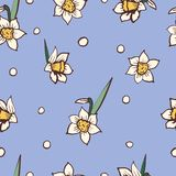 Daffodils Narcissus Dense Seamless Pattern. Stock Photos