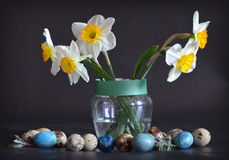 Daffodils and quail eggs Stock Photography