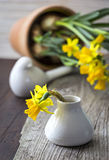Daffodils in a vase on the table Royalty Free Stock Images