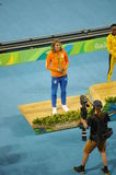 Dafne Schippers on Rio2016 Olympic podium Royalty Free Stock Photography