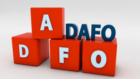 DAFO Marketing concepts. DAFO 3d cubes Marketing concepts Royalty Free Stock Photo
