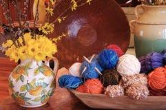 Dafodils and Yarn Stock Photos