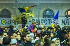 Dag 4 Anti-corruptieprotesten in Boekarest Royalty-vrije Stock Fotografie