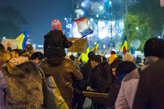 Dag 4 Anti-corruptieprotesten in Boekarest Royalty-vrije Stock Foto