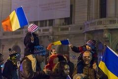 Dag 4 Anti-corruptieprotesten in Boekarest Stock Foto's
