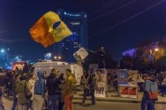 Dag 3 Antioverheidsprotesteerders in Boekarest Royalty-vrije Stock Foto's
