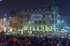 Dag 3 Antioverheidsprotesteerders in Boekarest Royalty-vrije Stock Foto