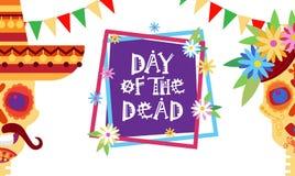 Dag av död traditionell mexicansk allhelgonaaftonDia De Los Muertos Holiday Party garnering Royaltyfri Fotografi