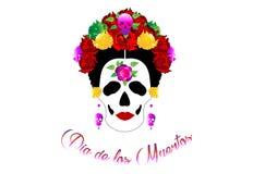 Dag av dödaen, ståenden av mexikanen Catrina med skallar och röda blommor, inspiration Santa Muerte i Mexico och la Calavera stock illustrationer