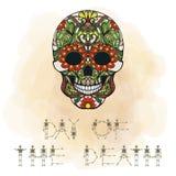 Dag av dödbanret med sockerskallen royaltyfri illustrationer