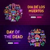 Dag av de döda Websitebanren royaltyfri illustrationer