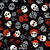 Dag av den död färgrik stilfulla skallen med prydnaden och blom- stock illustrationer