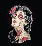 Dag av den döda för färgvektor för flicka 3 illustrationen stock illustrationer