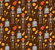 Dag av den döda ferien i Mexico den sömlösa modellen med sockerskallar stock illustrationer