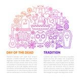 Dag av den döda linjen mall royaltyfri illustrationer