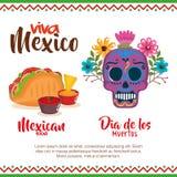 Dag av den döda maskeringen med mexikansk mat royaltyfri illustrationer