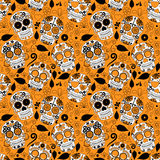 Dag av den döda Sugar Skull Seamless Vector Background royaltyfri illustrationer