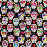 Dag av den döda Sugar Skull Seamless Vector Background stock illustrationer