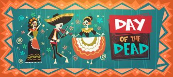 Dag av den döda traditionella mexicanska allhelgonaaftonen Dia De Los Muertos Holiday Party vektor illustrationer