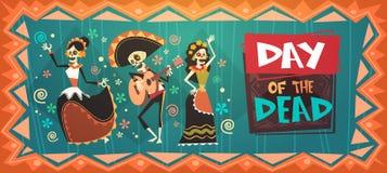 Dag av den döda traditionella mexicanska allhelgonaaftonen Dia De Los Muertos Holiday Party stock illustrationer